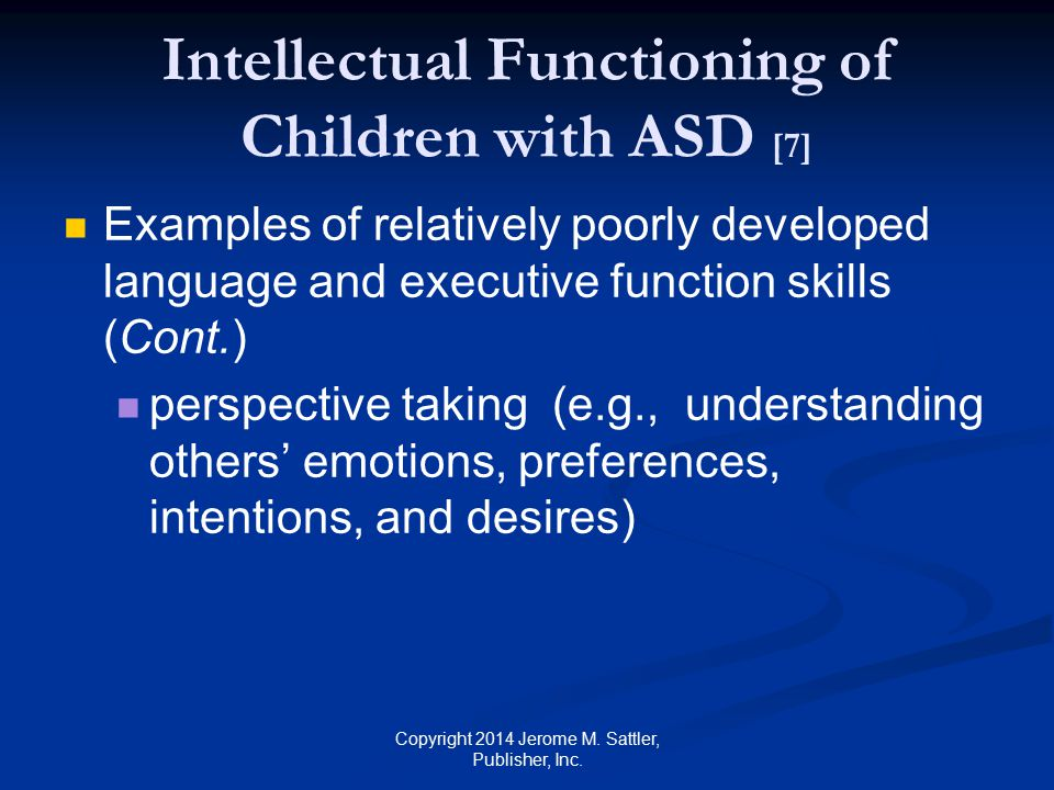 Intellectual Functioning of Children with ASD [7]